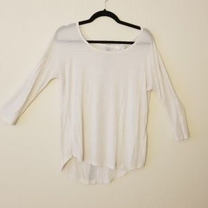 White dolman striped top